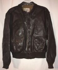 Vintage US Wings Brown Goatskin Leather A2 Bomber Jacket 48 Fits Large USA
