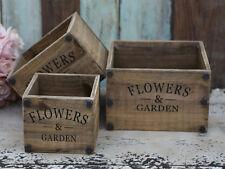 Chic Antique Holzkisten Set Blumentöpfe Landhaus Vintage Shabby Gartendeko