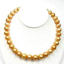 "17.75"" 11.5-14mm Australian South Sea Golden Pearl Nacklace W/ 14K Gold Clasp"