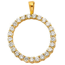 """14k Yellow Gold 0.45 ct Daimond Eternity Circle Pendant for Necklace 3/4"""" 2.1 gr"""