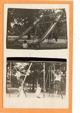 Real Photo Postcard RPPC- 2 Views of Children at Playground - Slides Swing Rings