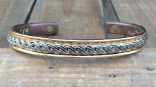 STRONG MAGNETIC 24K Electroplated Gold Silver Tone Rope Cuff Bracelet Vintage
