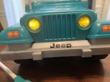 Vintage Barbie Jeep Wrangler Blue Beach 1999 Mattel WitH Remote Lights Work Nice
