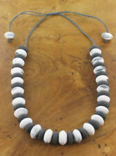 NECKLACE –  MARBELLED WHITE & GREY RESIN BEAD - NEC 36