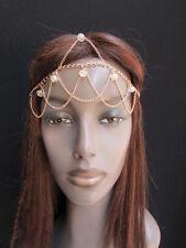 New women gold metal head chain clear forehead beads fashion jewerly hair peice