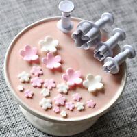 4Pcs/Set Plum Flower Fondant Cake Cutter Plunger Cookie Mold Decoration Mould