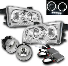 2006-2009 DODGE CHARGER CHROME PROJECTOR HALO LED HEADLIGHTS+FOG LAMP+50W 8K HID
