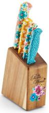 Pioneer Woman Breezy Blossom 5 Piece Cutlery & Wood Block Knife Knives Prep Set