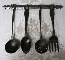 Vintage Cast Iron Utensil Set for Wall