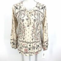 PS NWT Style & Co Women's Floral Printed Lace Up Long Sleeve Top Shirt C073