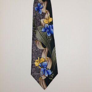 SAZZARI Men's 100% Silk Necktie ITALY Designer FLORAL Multi-Colored EUC Rare