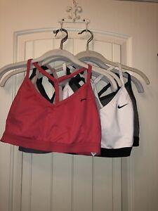 Women's Nike Lot Of 7 Sports Bras Black, Grey, White, Pink, Red Size Large