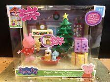 Peppa Pig Peppa's Holiday Cheer Playset Lights UP Christmas 2018 Hot Toy NEW HTF