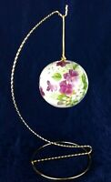 Potpourri Ball Staffordshire Bone China Purple Floral Twisted Wire Display Stand