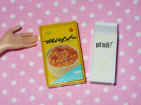 Barbie Doll Size Kitchen Littles CEREAL & MILK Food Accessory Lot BREAKFAST
