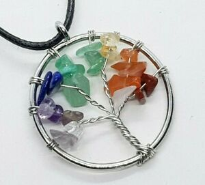 Tree of Life Necklace 7 Chakra Crystals Reiki Yoga Tumble Stones Healing Stone