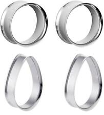 "and Flesh Tunnel Stainless Steel E568 Pair of 1"" Steel Teardrop Double Flare"