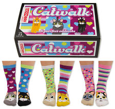UNITED ODDSOCKS CATWALK SIX PURRFECT CAT ODD SOCKS FOR LADIES UK 4 - 8 GIFT IDEA