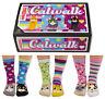 UNITED ODDSOCKS CATWALK SIX PURRFECT CAT ODD SOCKS FOR LADIES UK 4 - 8 GIFT IDEA