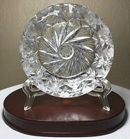 Vintage Bohemian Czech Lead Crystal Hand Cut 8 Point Star Ashtray Cigar 5""