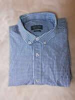 Zara Man XL slim fit SHIRT Long Sleeve Button Down Navy Blue white check Mens