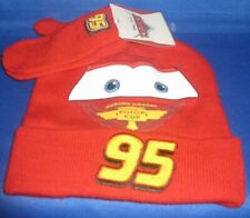 DISNEY PIXAR MOVIE CARS LIGHTNING McQUEEN KNIT HAT (BEANIE) & GLOVES BOYS 2T-4T