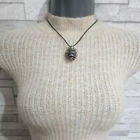 Black Cord Choker Necklace Tourmaline Stone Pendant Silvertone Twisted Metal