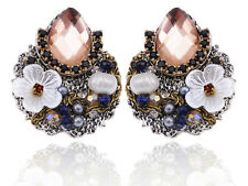 Antique Stylish Cluster of Baubles Flower Design Rhinestone Fashion Earrings New