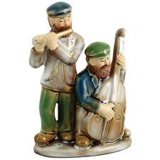 Judaica Figurine Ceramic 2 Kliezmer Players Flute And Cello Gift 12 cm Israel