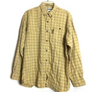 Columbia River Lodge Yellow Plaid Long Sleeve Mens Button Down Shirt Medium