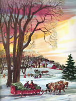 Colorful Christmas Sleigh Ride Winter Scene vintage art