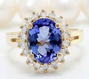 4.21 Carat Natural Blue Tanzanite and Diamonds in 14K Solid Yellow Gold Ring