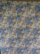 """Handmade Throw Blanket 62x54"""" BLUE FLOWERS Brown Leaves Reversible Vintage"""