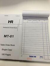 100x Mudium Size Single Copy Restaurant Docket Book MT01 99x172
