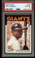 1986 Topps #490 Jeff Leonard PSA 10 Gem Mint~New Slab~ San Francisco Giants