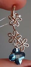 RUSSIAN SOLID ROSE GOLD London TOPAZ CZ flowers pendant 14 KT(585) 2.10g