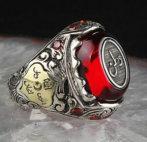 turkish 925 Sterling Silver PERSONAL NAME Amber stone Mens Mans ring ALL SİZE US