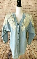 Vintage TARRA 80's Denim Lace & Pearls Jean Jacket, size Large