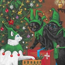 8x8 PRINT OF PAINTING RYTA XMAS WHITE BLACK CAT HOLIDAY ART TREE ELF SANTA CLAUS