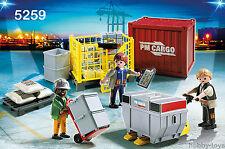 * * playmobil aéroport / train / Docks / livraison * équipe de chargement de cargaison (5259) * BNIB