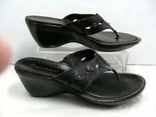 "Bare Traps Womens Thong Flip Flop Sandals ""Justify"" Size 8 M Black Leather #B"