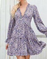 Damen Kleid Hängerchen Tunika Volant Muster druck Gr. 36 38 Lila R466 NEU