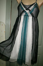 CKM S 8 10 Sheer Chiffon Black Green Silver Trim Cross Neck A Line Dress As New