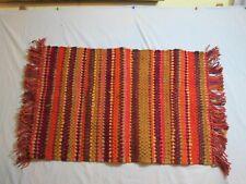 Woven Throw Rag Rug India Green Orange Brown Earth Tones 33 x 21 Fringe 3.5