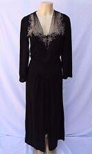 """Vintage 1940s Black Crepe Dress Floral Hand Beaded V-Neck Long Sleeve 36"""" Bust"""
