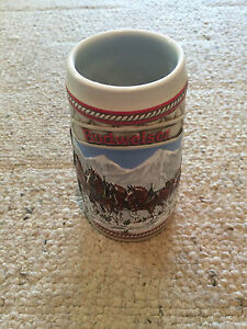 Vintage 1985 Budweiser Holiday Beer Stein Mug - Snow Capped Mountain-Clydesdales