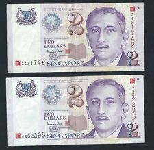 Banknote - Singapore $2 x 2 pcs Millennium 2000  Paper Money Very Fine  (#89)