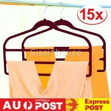 15X Trouser Pant Hangers 3-Tier  Velvet Clothes Hanger Organizer  Space Saving