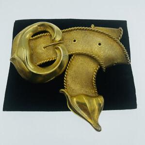 Christopher Ross Vintage Gold Plated Large Belt Strap Design Belt Buckle