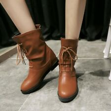 Retro Womens Mid-calf Boots Casual Lace Up Round Toe Booties Flat Shoes Winter